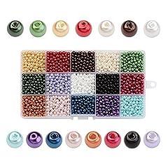 Idea Regalo - PandaHall 3600PCS 15 Colori 4mm Perline di Vetro Perline Colorate Perle Imitazione Rotondo per Braccialetti Gioielli Fai da Te, Perline per Natale Colore Misto, Foro: 0.8mm, Circa 240pcs / Colore