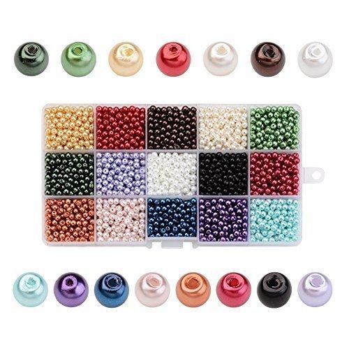 PandaHall 3600PCS 15 Colori 4mm Perline di Vetro Perline Colorate Perle Imitazione Rotondo per Braccialetti Gioielli Fai da Te, Perline per Natale Colore Misto, Foro: 0.8mm, Circa 240pcs / Colore