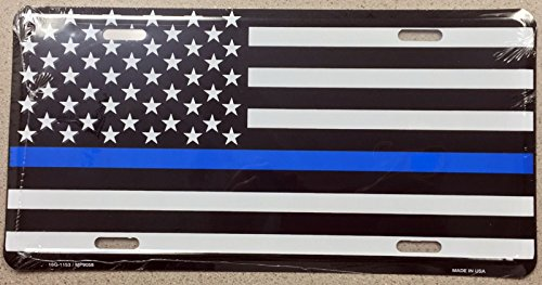 Home and Holiday Shops American US Flag Blue Line Police Lives Matter Aluminum License Plate Auto Car - American Flag License Plate