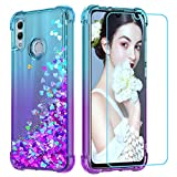 LeYi Custodia Huawei P Smart 2019 Glitter Cover con HD Pellicola,Originale Brillantini Silicone Gel Sabbie Mobili Bumper Case per Custodie Huawei P Smart 2019/Honor 10 Lite Donna ZX Turquoise Purple