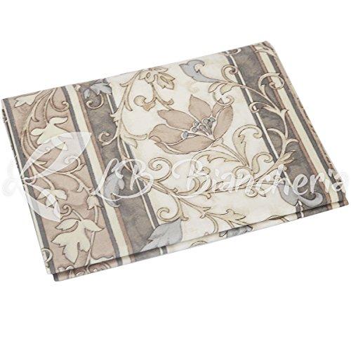 R.p. telo arredo copritutto ramage floreale - made in italy - cotone a trama fitta - misura 1 piazza cm 180x280 - tortora
