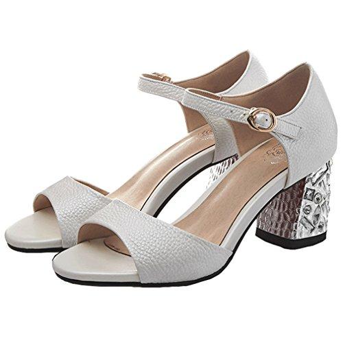 ENMAYER Womens Retro Ankle Strap Nubuck Leder Wölbung Sandalen Block High Heels Open Toe Pumps Dicke Ferse Schuhe Beige#103