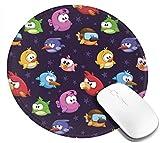 Tappetino per mouse rotondo, figura di uccelli volanti arrabbiati con varie immagini di giochi giocattolo per bambini Immagine artistica babyish, tappetino per mouse da gioco antiscivolo