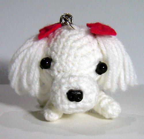 Pom Weiße Keychain Pom (Crochet Hund Schlüsselanhänger/Charm