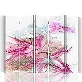 Feeby - Raumteiler - Trennwände – Foto Paravent – Spanische Wand - Bedruckt aufLeinwand – Trennwand – Deko Design – Paravent beidseitig - 5 teilig 180x150 cm - Bloomnjazz - Farbe Abstrakt Rosa Weiß Braun