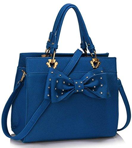 LeahWard® Damen Mode Essener Qualität Patent Bogen Tragetasche Kunstleder Shinny Handtasche mit Gurt CWS00176 CWS00384 CWS00386 CWS00384A-blau