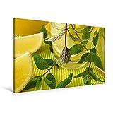Premium Textil-Leinwand 75 cm x 50 cm quer, Eistee mit Zitrone Minze   Wandbild, Bild auf Keilrahmen, Fertigbild auf echter Leinwand, Leinwanddruck (CALVENDO Lifestyle)