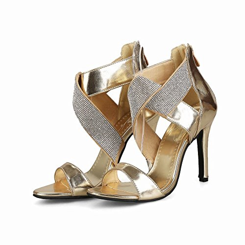 Mee Shoes Damen high heels Reißverschluss Nubukleder Sandalen Gold