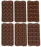 ZOLLNER24 Stampo in Silicone per cioccolatini o cubetti di Ghiaccio/formine per Caramelle/Praline, 6 Forme Diverse, Stelle, Cuori, cubetti, Fiori, Diamanti, Ciambella, Marrone, Serie Ice-Choco