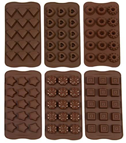ZOLLNER24 6-TLG. Pralinenform aus Silikon, Verschiedene Formen