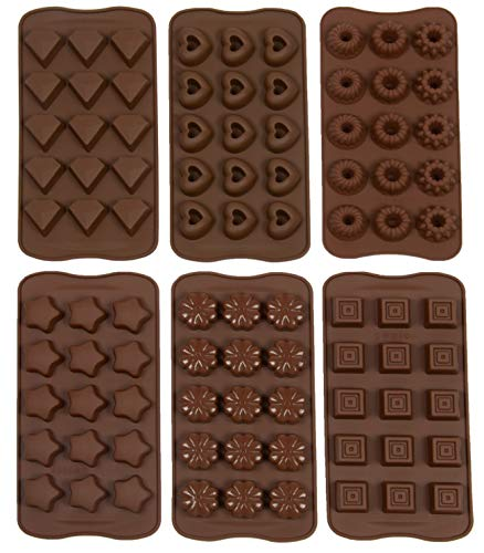 Zollner24 6 moldes para bombones de silicona antiadherente, cada molde con una forma distinta