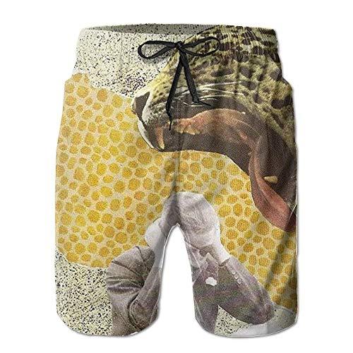 ZHIZIQIU Men's Shorts Swim Beach Trunk Summer Leopard Human Athletic Classic Shorts with Pockets - XL Girl Carters Leoparden-print