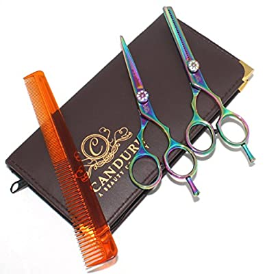 "CANDURE®- Professional 5.5"" Hairdressing Barber Salon Scissors, Thinning Scissors set , Multi Zebra with Gold Screw Plus Brown Presentation Case by CANDURE®"