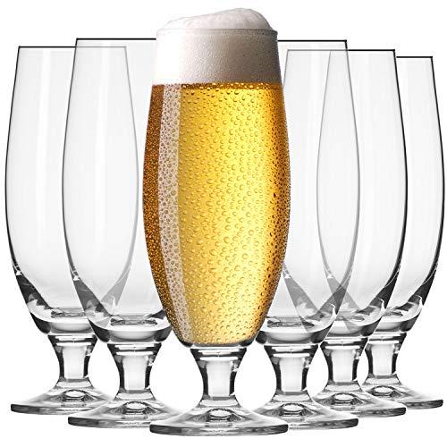 Krosno Pokal Craft Bier-Gläser 0,5 Liter   Set von 6   500 ML   Elite Kollektion   Perfekt für Zuhause, Restaurants und Partys   Spülmaschinenfest