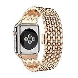 TPulling Apple Watch Series 4 Uhr Armband Sport Schleife Luxus Legierung Link Edelstahl Gürtel Uhrenarmband Ersatzarmband Handschlaufe (40MM) (Roségold)
