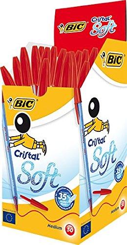 BIC Cristal Soft bolígrafos punta media (1,2 mm) – Rojo, Caja de 50 unidades