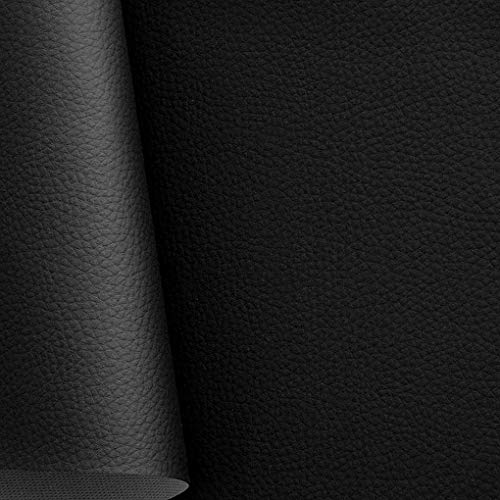 TOLKO Kunstleder Polsterstoff Meterware als Robuster Premium Bezugstoff/Möbelstoff zum Polstern, Beziehen, Basteln und Dekorieren, 140cm Breit (Schwarz) -