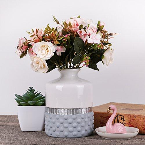 Weiß Keramik Vase Kleine Blumenvase Moderne Tischvase Blumen Pflanzen Vase Keramikvase Deko Garten Dekoration Höhe 15,5cm Ø 11cm (Weiß & Silbern) ()
