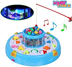 Kids Choice Fishing Fish Catching Game with 26 Pcs of Fish, 2 Rotary Fishing Pond and 4 Pods Includes Music and Lights Function (Assorted Color)