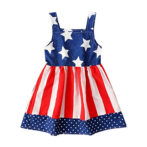 DQANIU- ❤️❤️Babykleider, Kinder und Mutter - Mädchen Kleid & Rock Kleinkind Baby Kinder Mädchen 4. Juli Stern Streifendruck Kleid Party Prinzessin Kleider (6M-4Y) (4. Juli Ideen Für Die Party)