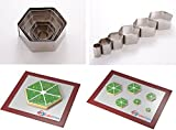 "Hexagon Shape Leaf Steel Cookie Cake Cutter 1"" deep set of 6 - Decorating tool"