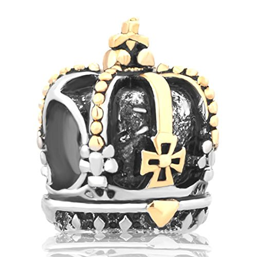 Uniqueen gioielli ciondolo tipo charm a corona placcato oro, si adatta a braccialetti biagi e troll