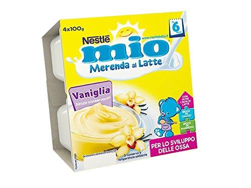 Nestlé Mio Merenda al Latte Vaniglia senza Glutine da 6 Mesi 4 Vasetti Plastica da 100g