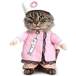 L-Peach Disfraz de Enfermera Ropa Traje Rosa para Mascotas Animal Doméstico Gato Perro con Dos Patas y Gorro para Halloween Navidad M