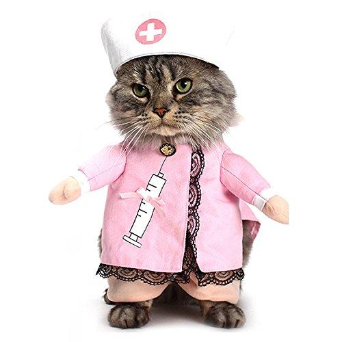 d Katze Krankenschwester Einheitlicher mit Hut Mäntel Kostüme Haustier Party Kleidung Kostüm für Kleine Mittlere Hunde Katze M ()