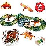 ACTRINIC Auto Dinosaurier Spielzeug Jurassic Welt,mit 144 Stück Flexible Strecken 3 Dinosaurier,2 Militärfahrzeuge,1 Bäume,2 in 1 Tunnel für 2 3 4 Jahr Mädchen und Jungen Beste Geschenk