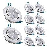 Liqoo® 10er 7W LED Einbaustrahler Einbauleuchte Set Deckenstrahler Deckenleuchte Deckenlampe ceiling light Einbauspot Spot Warmweiß 2800 - 3000K 660Lumen Ersetzt 50W 2835SMD AC 85-265V mit Trafo