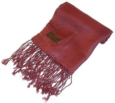 Kuldip Unisex Pashmina Scarf Shawl Wrap Throw Deep Burgundy Red