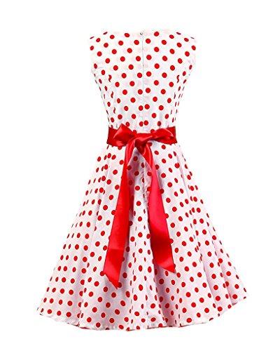 MISSMAO Vintage 1950s Audrey Rockabilly Robe de Cocktail Rétro Polka Dot Robe de Classique Blanc Gros Rouge Point