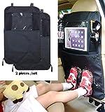 Termichy - Organizer per schienale con scomparto per iPad, impermeabile, per proteggere il sedile dell'auto da danni e sporcizia causati da bambini o animali domestici, 2 pezzi, colore: Nero