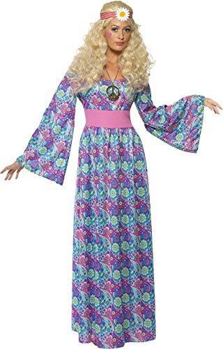 Damen 1960s Jahre 1970s Hippie Hippy lang Länge Maxi Blume Kinder Junggesellinnenabschied Kostüm Kleid Outfit UK 8-22 Übergröße - Mehrfarbig, Large
