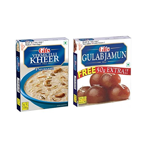 GITS Instant KHEER Mix Vermicelli 100G and GULAB JAMUN Mix 200G (Pack of 2)