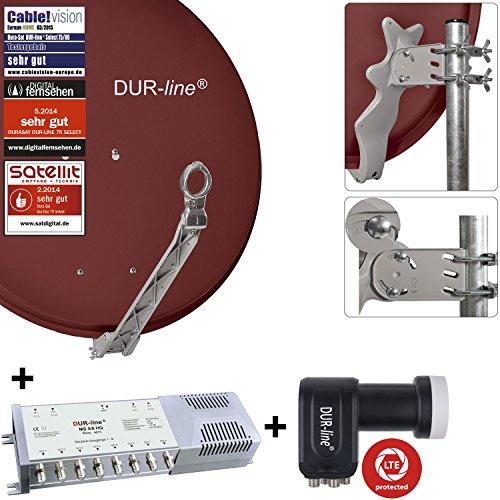 DUR-line 8 Teilnehmer Set - Qualitäts-Alu-Sat-Anlage - Select 75/80cm Spiegel/Schüssel Rot + DUR-line Multischalter + LNB - Satelliten-Komplettanlage - für 8 Receiver/TV [Neuste Technik - DVB-S/S2, Full HD, 4K/UHD, 3D]
