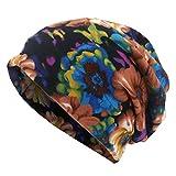 MIRRAY Damen Schal Mütze Blumendruck Lässige Slouchy Outdoor Cabrio Winddicht Hüte Pferdeschwanz Mützen Hut 56-58cm