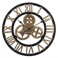 Idea Regalo - OviTop 60cm Orologio da Parete Orologio da Muro Silenzioso Industriale Decorativi Design Gigante Orologio da Muro per Cucina, Camera da Letto o Studio-d'oro