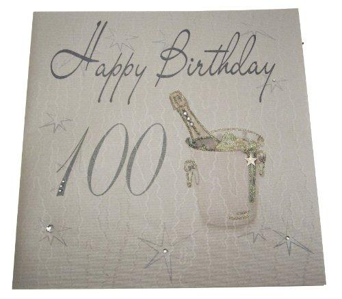 """White Cotton Cards XLS100 Glückwunschkarte zum 100. Geburtstag """"Happy Birthday"""", handgefertigt, Motiv Champagnerkühler, groß"""