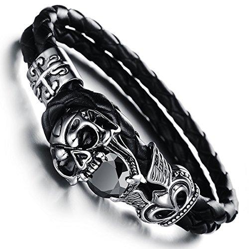 JewelryWe Schmuck geflochten Leder Armband, Gotik Schädel Totenkopf Krone 2 Lederkette Lederarmband...