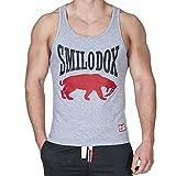 SMILODOX Tank Top Herren | Muskelshirt mit Aufdruck für Sport Gym Fitness & Bodybuilding | Muscle Shirt mit Aufdruck - Unterhemd - Achselshirt - Trainingshirt Kurz, Farbe:Grau, Größe:S