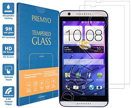 PREMYO 2 Stück Panzerglas Schutzglas Bildschirmschutzfolie Folie kompatibel für HTC Desire 820 Blasenfrei HD-Klar 9H Gegen Kratzer Fingerabdrücke