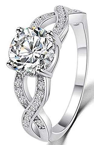 SaySure - Romantic Luxury Unique Design Hollow Crystal Ring (SIZE : 5)