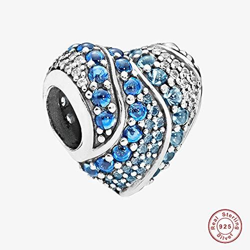 342197e0747c Funshopp 2018 Spring 2018 Spring Aqua cuore perline in argento Sterling 925  DIY adatto per originale