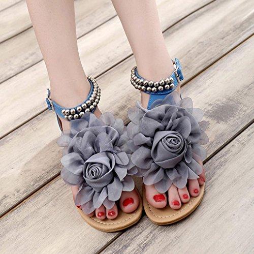 Transer® Damen Flach Sandalen Blume Wulstig Peep-Toe Kunstleder+Kunststoff Beige Rosa Blau Sandalen (Bitte achten Sie auf die Größentabelle. Bitte eine Nummer größer bestellen) Blau