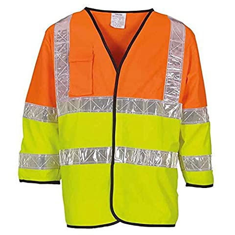 YOKO Men's Hi-vis Premier Two-tone Recovery Jerkin Waistcoat (HVJ202) Touch and Close Front Velcro Fastening White 5cm Prismatic Reflective Tapes (Large)