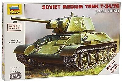 Zvezda 500785001 - WWII Russischer Kampfpanzer, T34/76 Snap-Fit 1:72 von Zvezda