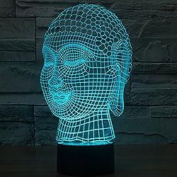 3D ilusión óptica Buda Luz nocturna 7 colores Cambio de botón táctil USB de suministro de energía LED lámpara de mesa lámpara