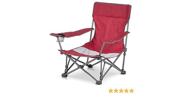 Spiaggina Sedia da Spiaggia Campeggio Pieghevole ad Ombrello con Braccioli Rosso
